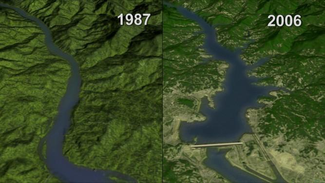 Yangtze Nehri'ninbaraj inşasından önceki ve sonraki durumu